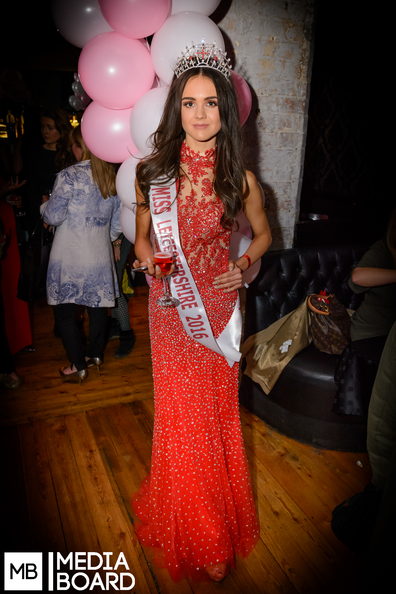 Newly crowned Miss Leicestershire 2016 at MB event