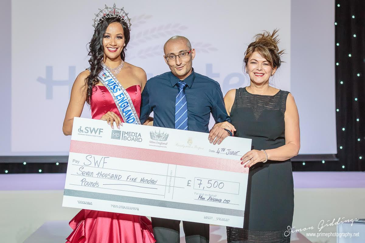 Miss England Awards Media Board's SWF Campaign with a Remarkable £7500!